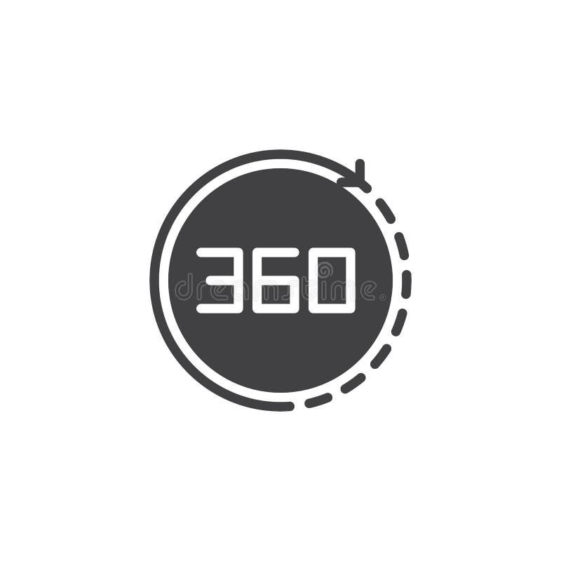 Ângulo 360 graus de ícone do vetor ilustração stock