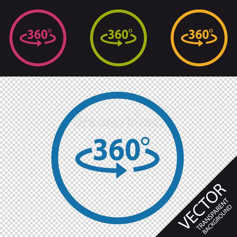 Ângulo 360 graus de ícone - ilustração do vetor - isolado no fundo de Transprent ilustração stock