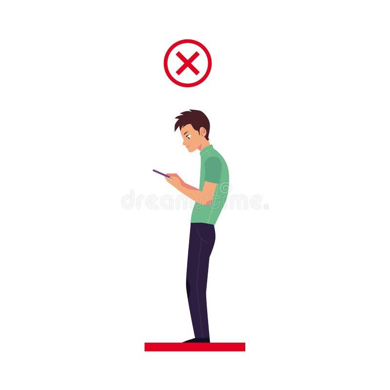 Ângulo principal incorreto do vetor usando o smartphone ilustração stock