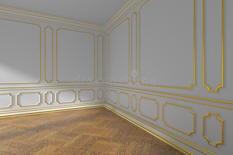Ângulo vazio branco da sala com molde e parquet do ouro ilustração stock