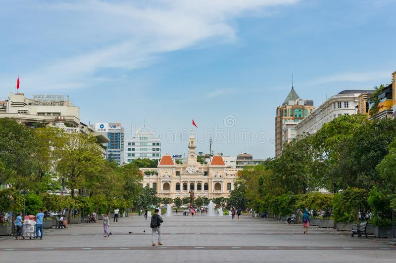Nguyen Hue street with Ho Chi MInh CIty Hall building view royalty free stock photo