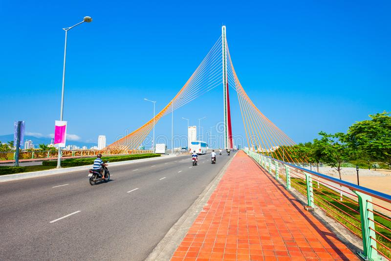 Nguyen Van Troi Tran bridge. Cau Nguyen Van Troi Tran Thi Ly Bridge is a bridge spanning the Han River in Danang city in Vietnam royalty free stock photo