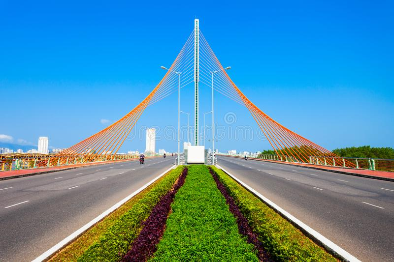 Nguyen Van Troi Tran bridge. Cau Nguyen Van Troi Tran Thi Ly Bridge is a bridge spanning the Han River in Danang city in Vietnam royalty free stock photography