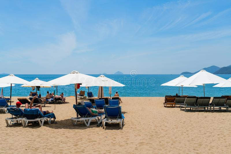 Nha Trang beach, is famous with beautiful beaches and bays in central Vietnam.  royalty free stock photo