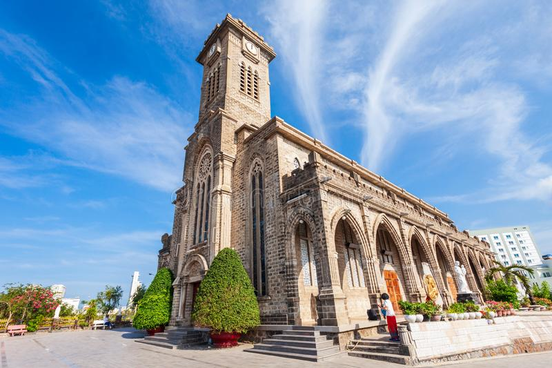Nha Trang Cathedral in Vietnam. Nha Trang Cathedral or the Christ the King Cathedral is the mother church of the Catholic Diocese of Nha Trang in Vietnam royalty free stock images