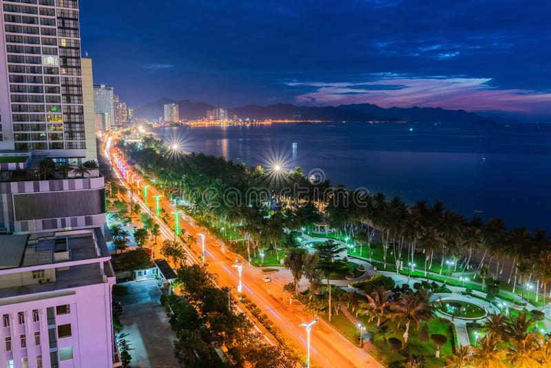 Nha Trang coastal city at night, with the famous and beautiful beaches and bays in Vietnam.  stock photos