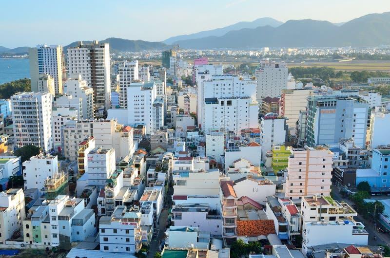 Nha Trang, Vietnam, 16,2015 Januari, Niemand, hotels en de andere bouw in Nha Trang stock afbeelding