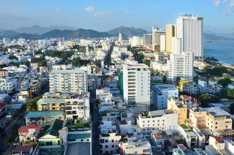 Nha Trang, Vietnam, 16,2015 Januari, Niemand, hotels en de andere bouw op de dijk van het overzees in Nha Trang stock foto's