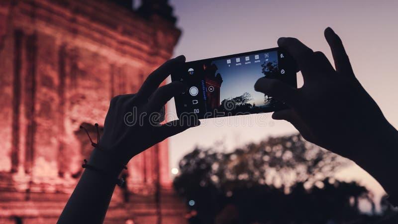 Nhantoren of Thap Nhan in Phu-Yen, Vietnam Grote destinaton moet bij nacht bezoeken stock foto