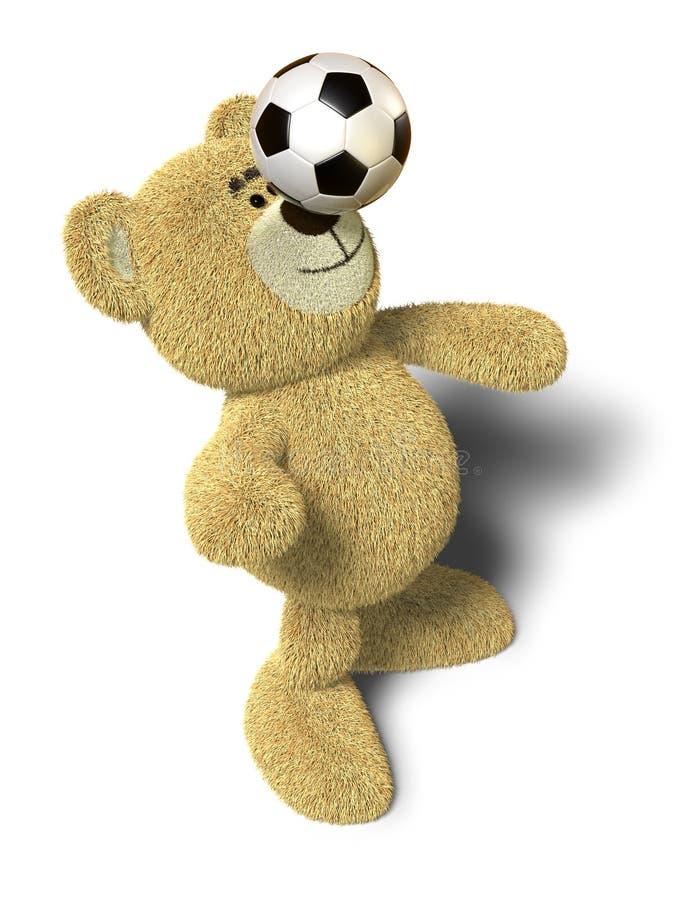 Nhi Bär balanciert Fußballkugel auf Wekzeugspritze stock abbildung