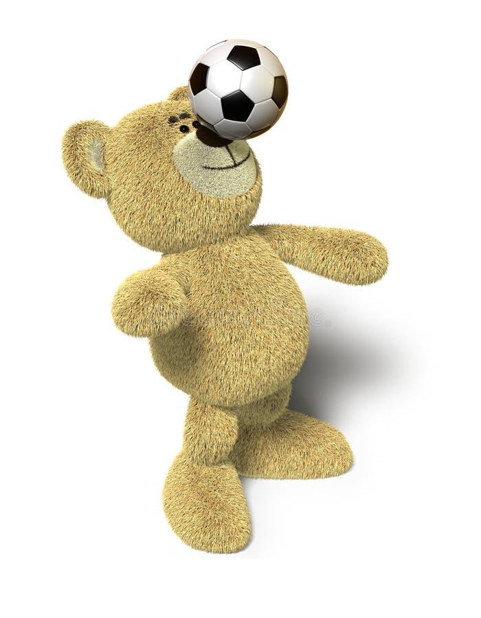 Nhi Bär balanciert Fußballkugel auf Wekzeugspritze vektor abbildung