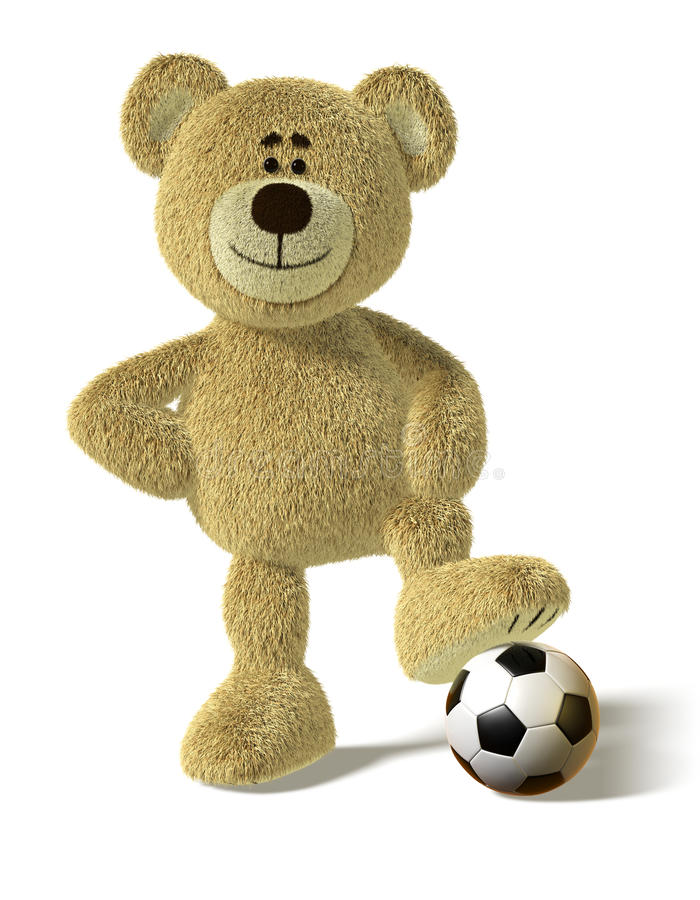 Nhi Bear - Foot on a Soccer Ball royalty free illustration