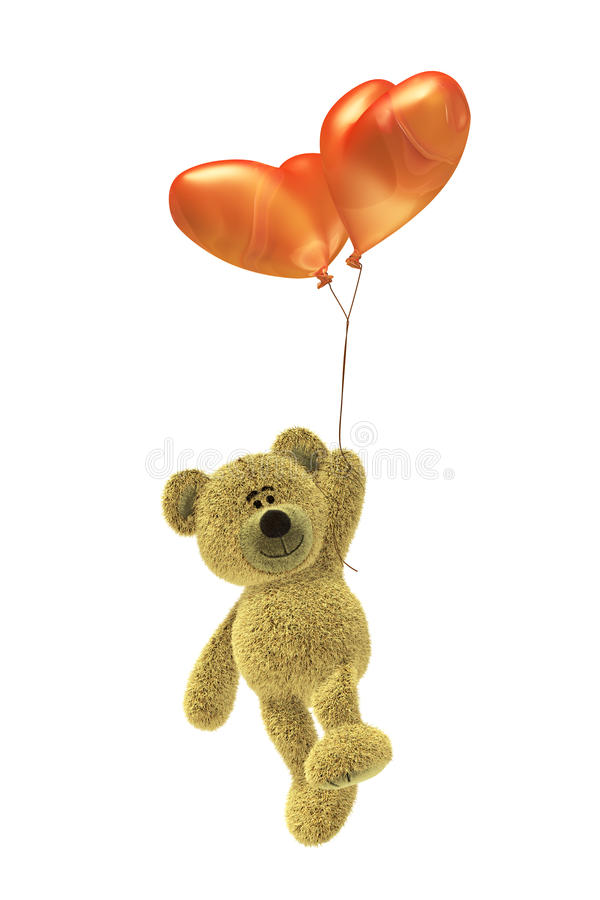 Download Nhi Bear With Heartshaped Balloon Flying Stock Illustration - Image: 12035807