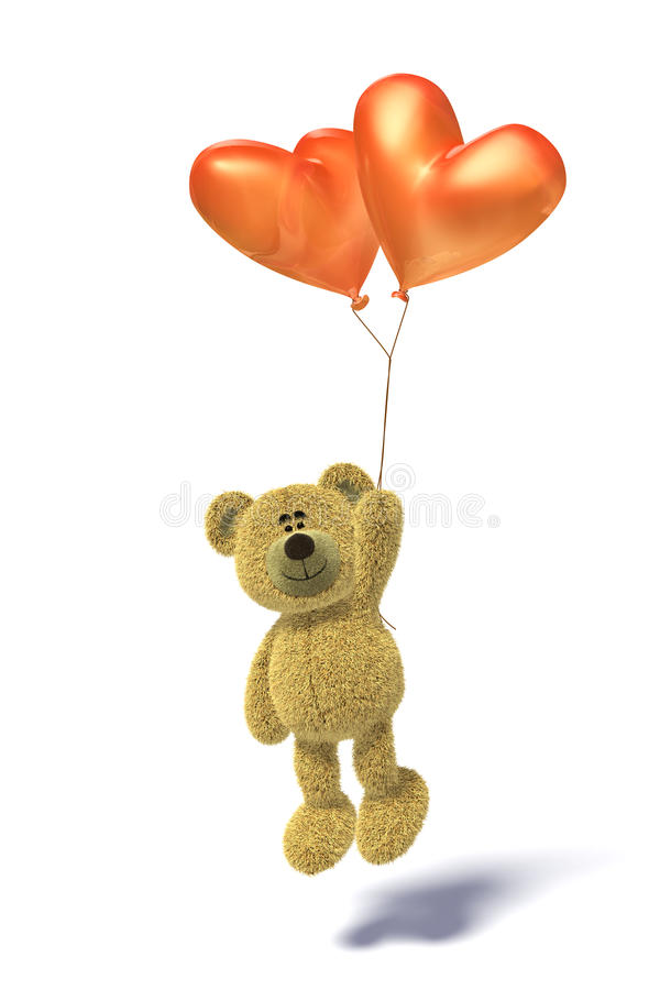 Download Nhi Bear With Heartshaped Balloon Flying Stock Illustration - Illustration of heartshaped, jumping: 12035849