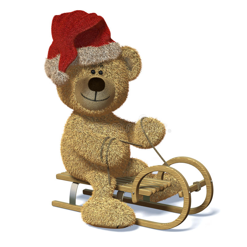 Free Nhi Bear On The Sledge With Santa S Cap. Stock Images - 12036014
