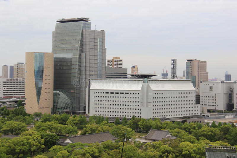 NHK and Osaka Museum of History. Osaka, Japan - May 28, 2013: Scenery of the buildings of NHK, Japan's only public broadcaster, and the Osaka Museum of History royalty free stock photos