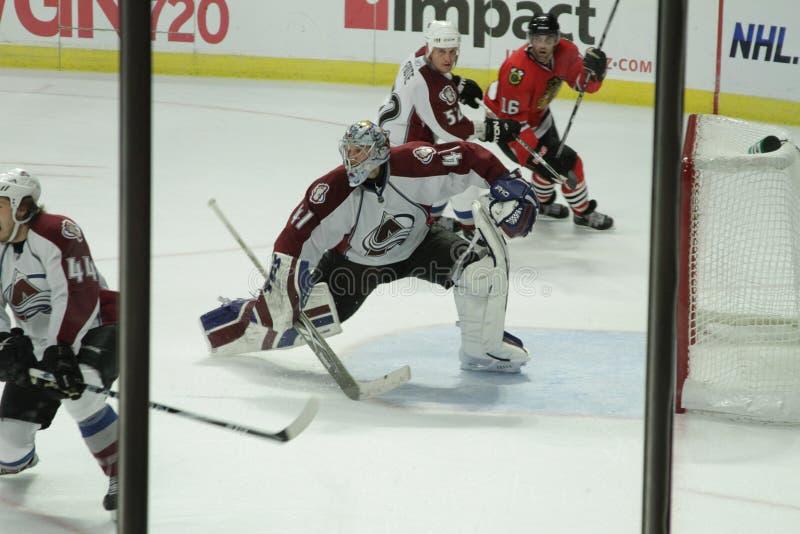 NHL Chicago Blackhawks contra la avalancha de Colorado fotografía de archivo libre de regalías