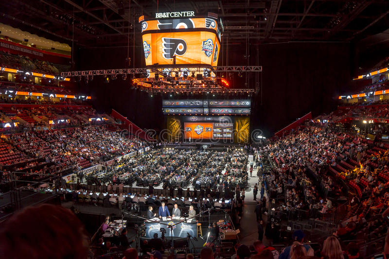 2015 NHL Draft - Philadelphia Flyers. The Philadelphia Flyers logo appears on the jumbo screen as they get set to take their turn to draft a player at the 2015 royalty free stock photo