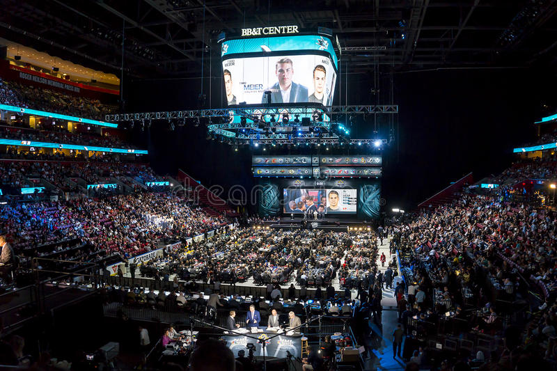 2015 NHL Draft - Timo Meier - San Jose Sharks. Timo Meier is selected by the San Jose Sharks in the 1st round at the 2015 National Hockey League Draft held in at royalty free stock photos