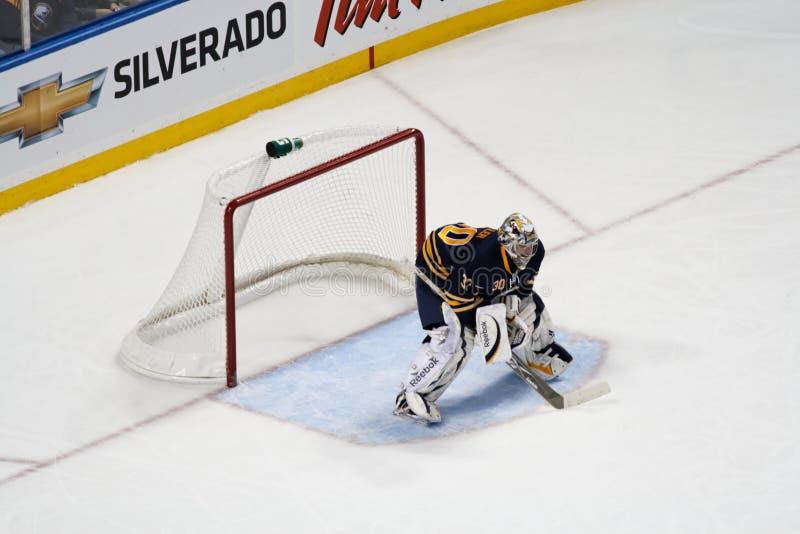 NHL Goaltender Ryan Miller guards the net stock photos