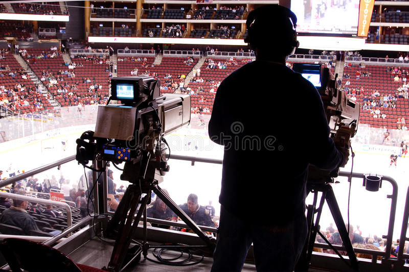 NHL Hockey Game - Broadcast Cameras stock images