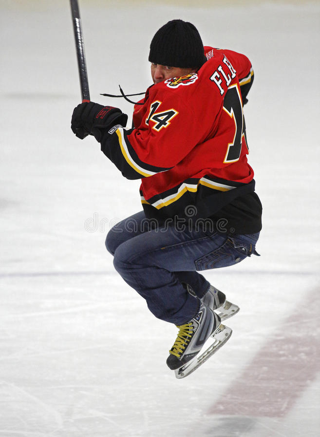 NHL-Hockey Theo Fleury Jumps Skating stock fotografie