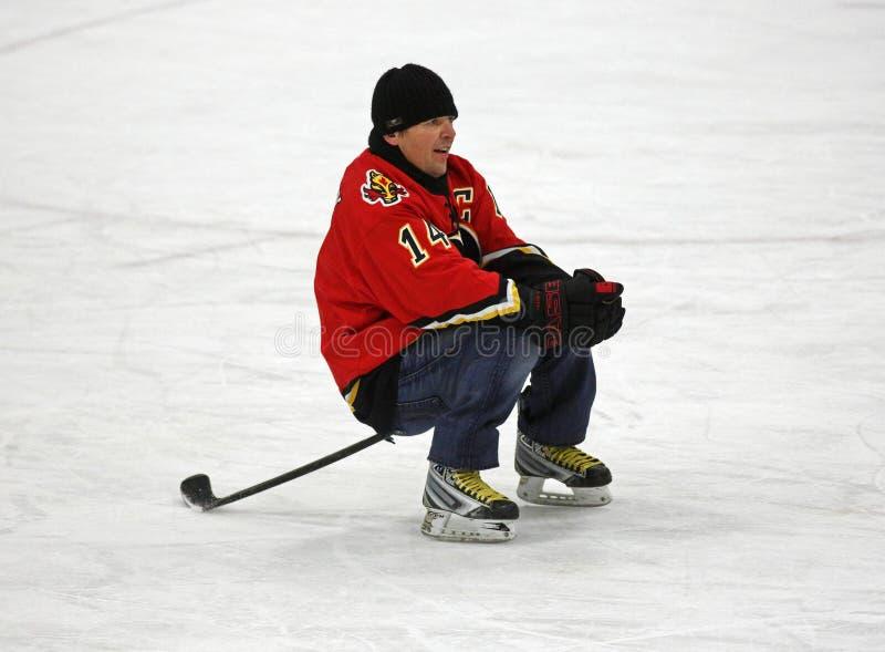 NHL-Hockey Theo Fleury Stick Sits royalty-vrije stock afbeelding