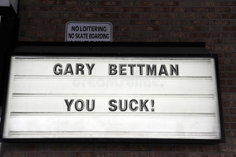 NHL lockout sign at sports bar. A sign at PJ Quigley's bar in Ottawa expresses the frustration NHL fans feel with Commissioner Gary Bettman over the NHL royalty free stock images
