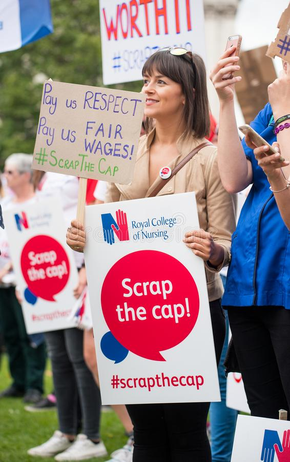 NHS - SCRAP THE CAP PROTEST stock images