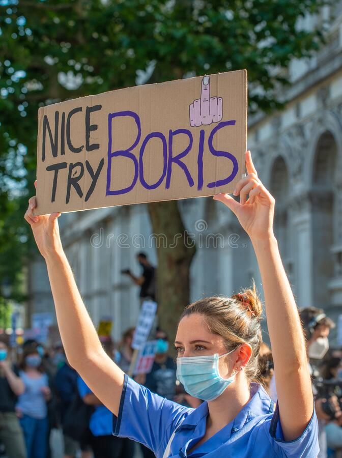 NHS workers protest, demanding a pay rise from the British Government. stock image