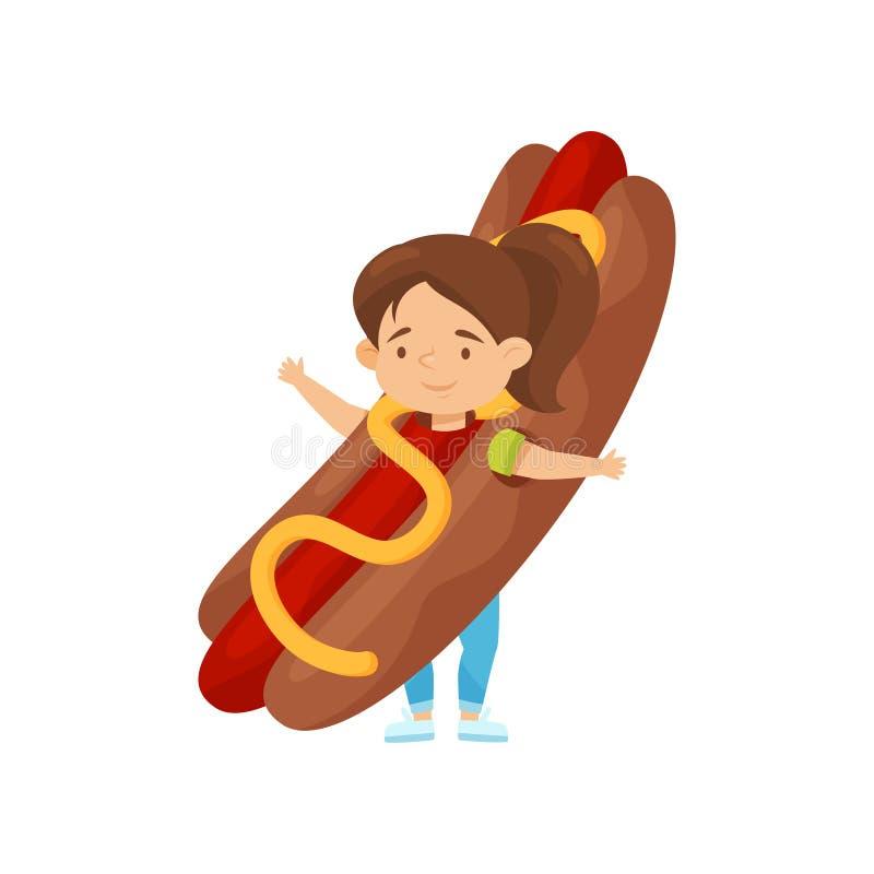 Niña adorable en el traje del perrito caliente Junk Food Niño lindo con la expresión sonriente de la cara Diseño plano del vector libre illustration