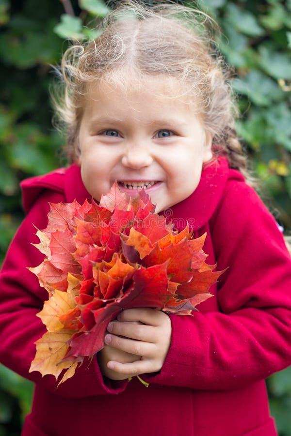 Niña bonita con un ramo de hojas de otoño imagen de archivo libre de regalías