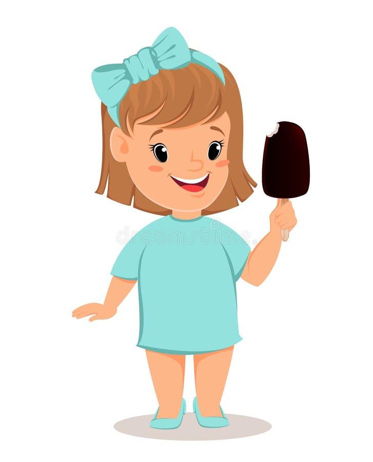 Niña bonita en vestido azul que come el helado Personaje de dibujos animados lindo libre illustration