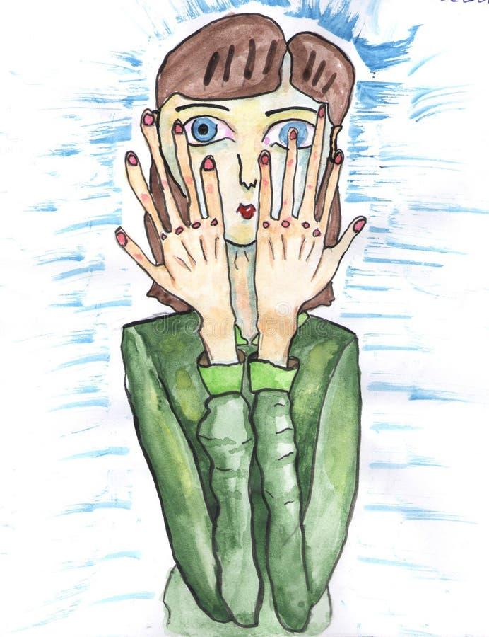 Niña cansada de los colores libre illustration