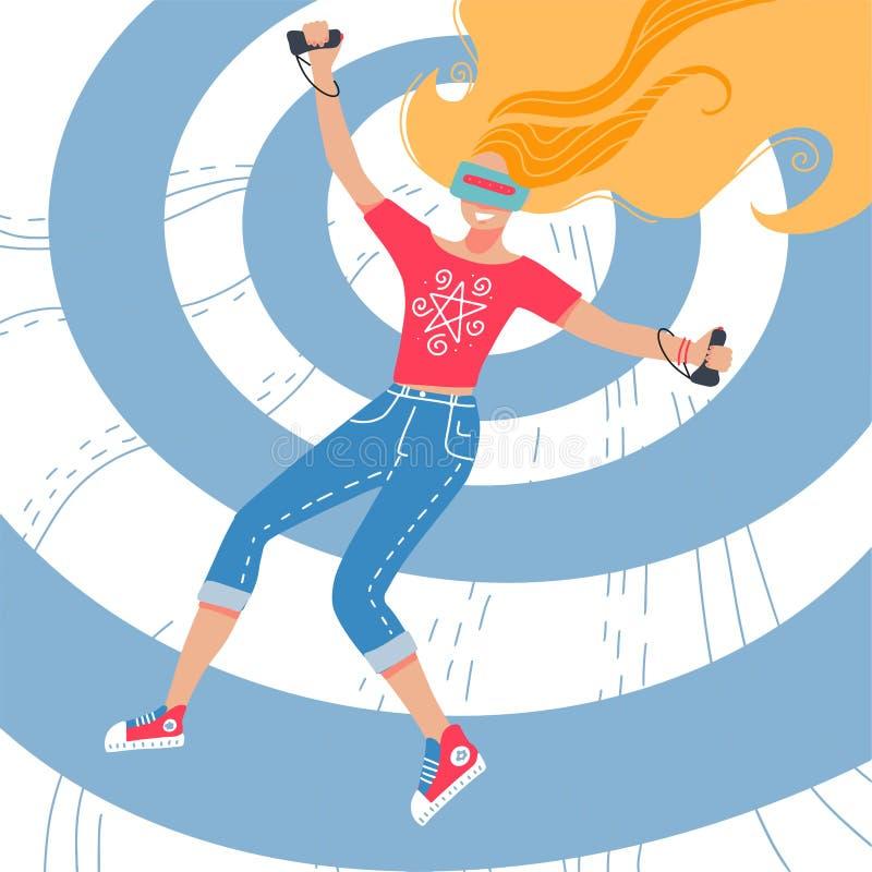 Niña con casco de realidad virtual, ilustración vectorial dibujada a mano de caricatura Mujer joven jugando con simulador de real libre illustration