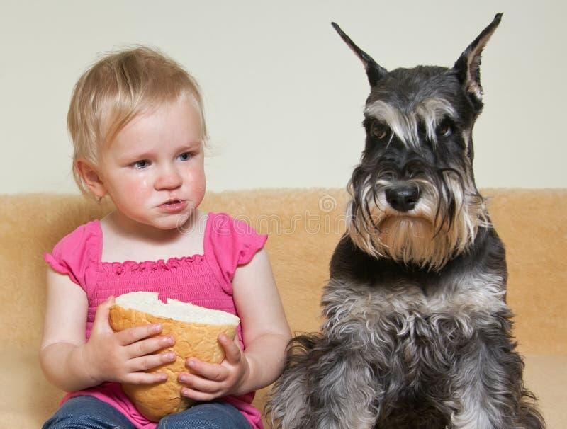 Niña con el perro foto de archivo