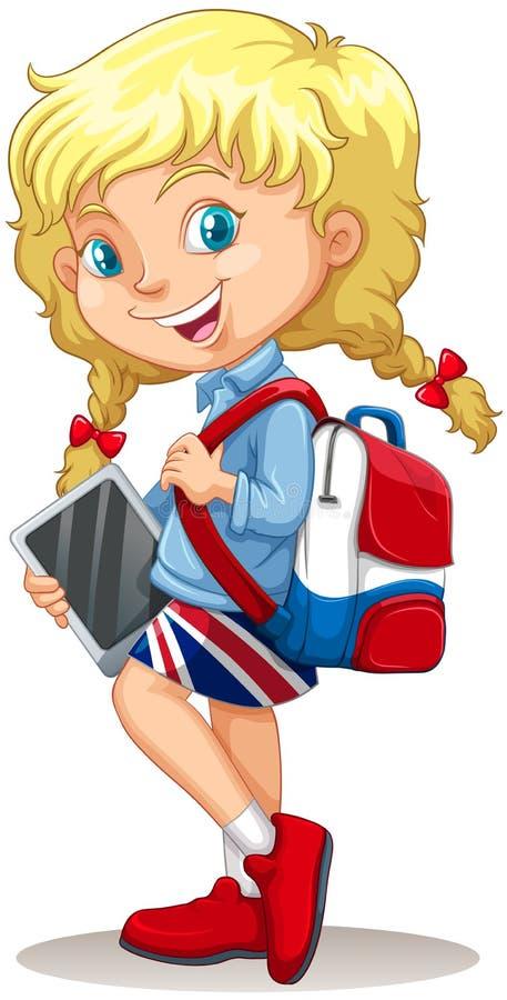 Niña con la cartera y la tableta libre illustration