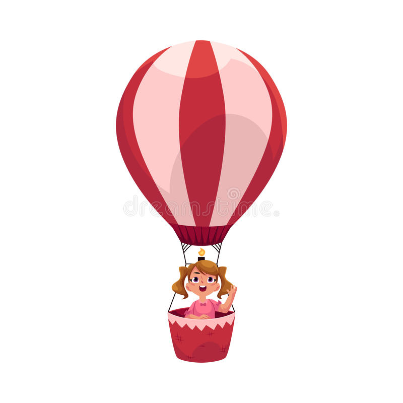 Niña con las colas de caballo que vuelan en el globo del aire caliente, avión ilustración del vector