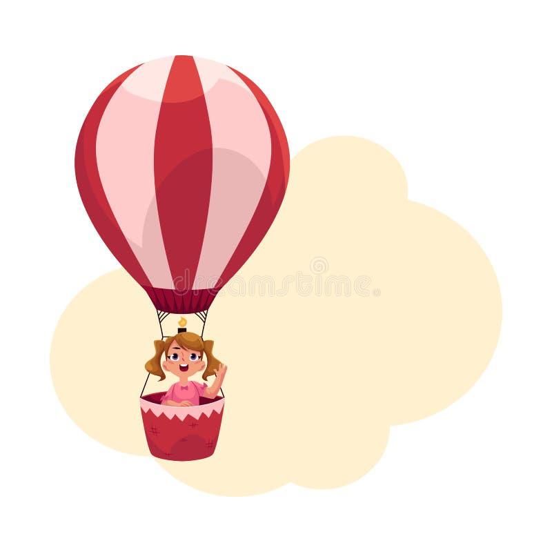 Niña con las colas de caballo que vuelan en el globo del aire caliente, avión libre illustration