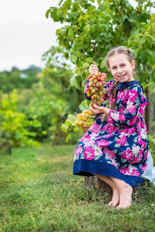 Niña con las uvas en el jardín imagen de archivo
