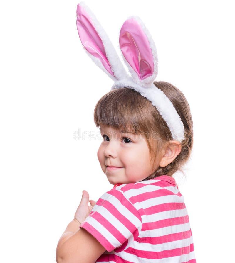 Niña con los oídos de conejo imagen de archivo libre de regalías