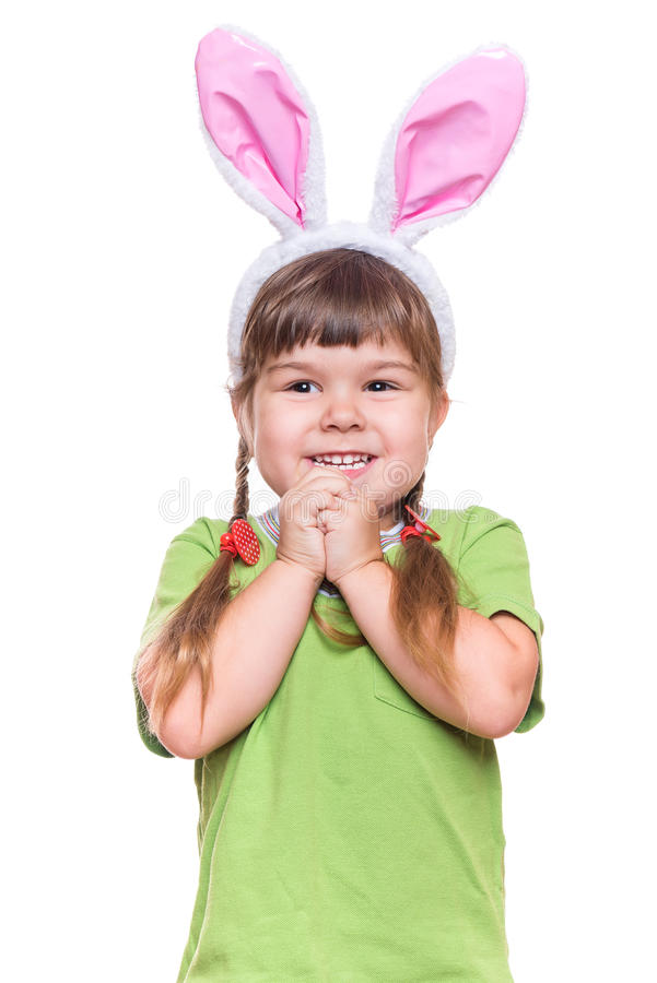 Niña con los oídos de conejo imagenes de archivo