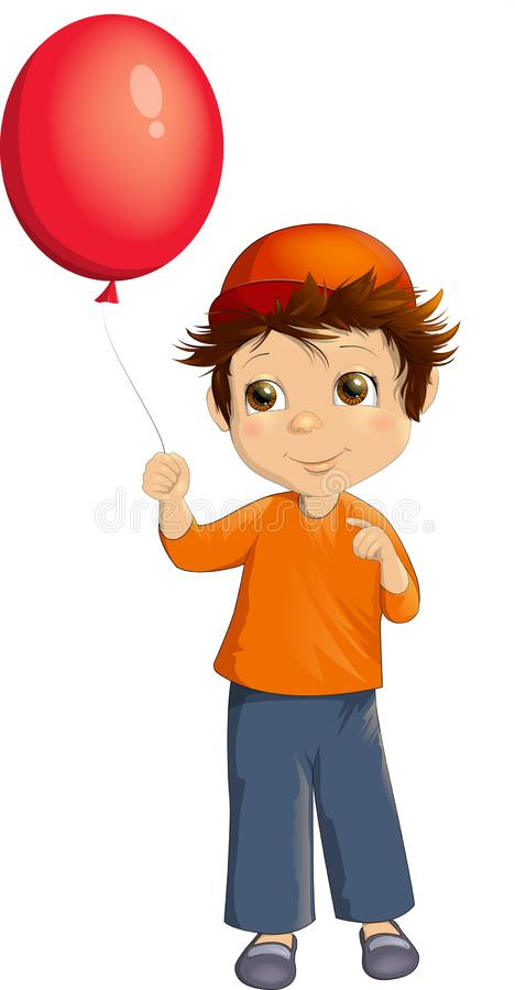 Niña con un globo rojo stock de ilustración