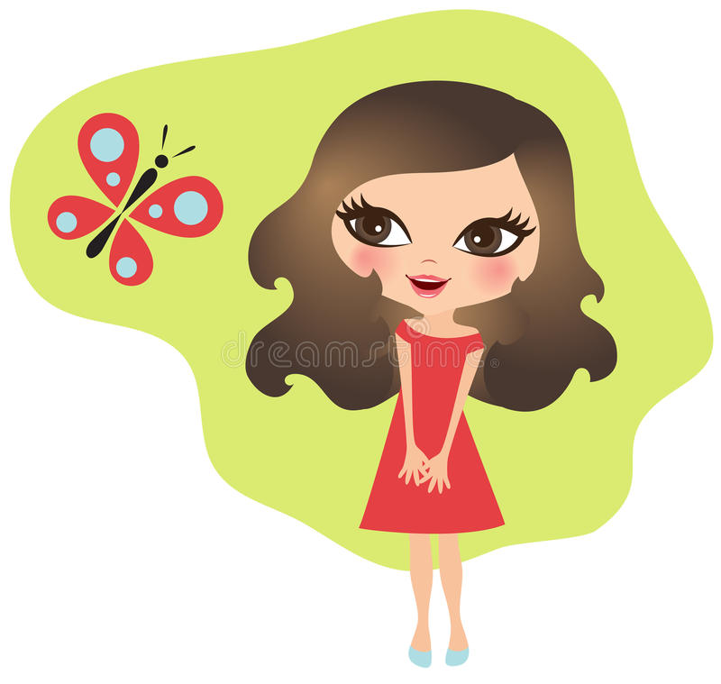 Niña con una mariposa ilustración del vector