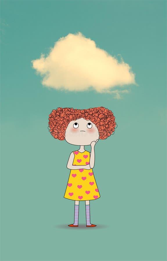 Niña con una nube sobre su cabeza stock de ilustración