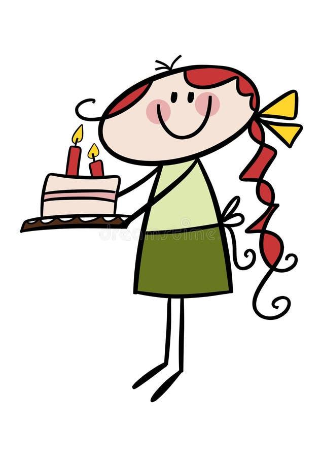 Niña con una torta de cumpleaños stock de ilustración