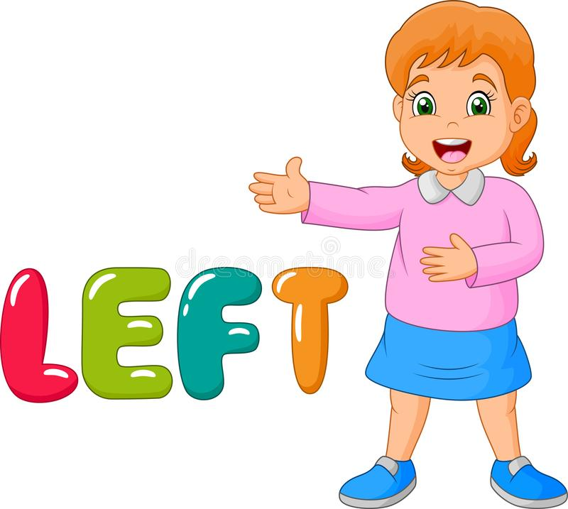 Niña de la historieta que señala a su izquierda con la palabra izquierda stock de ilustración