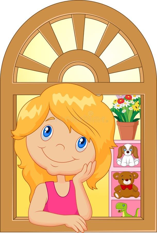 Download Niña De La Historieta Que Sonríe Y Que Tiene Cuidado La Ventana Ilustración del Vector - Ilustración de casero, varón: 58810650