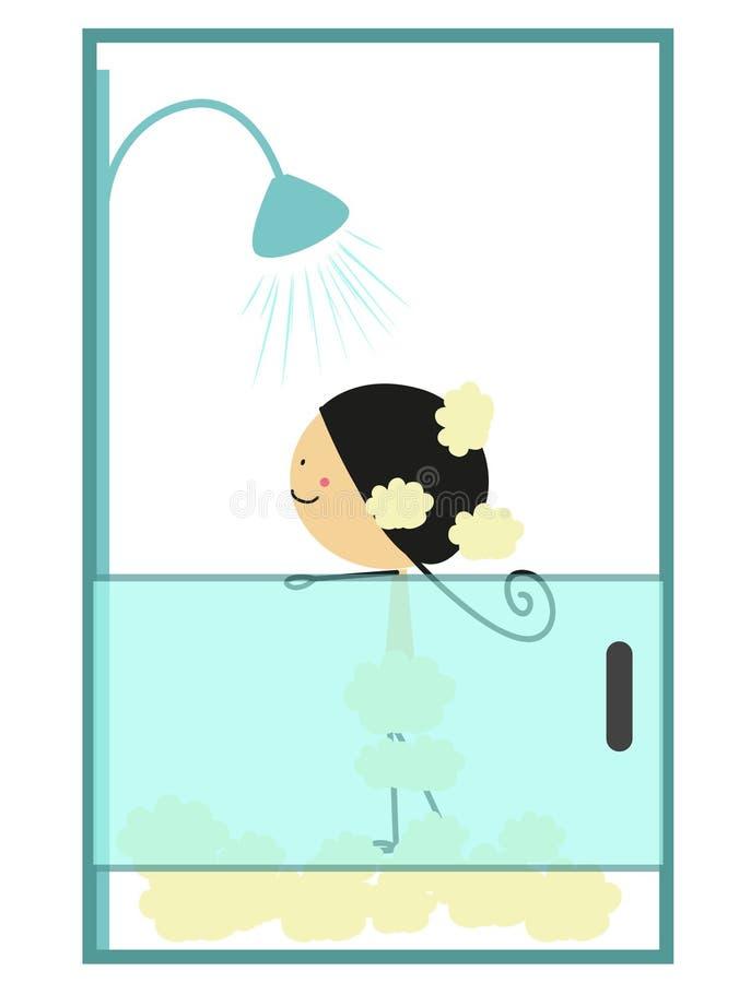 Niña del garabato que toma un baño - a todo color ilustración del vector