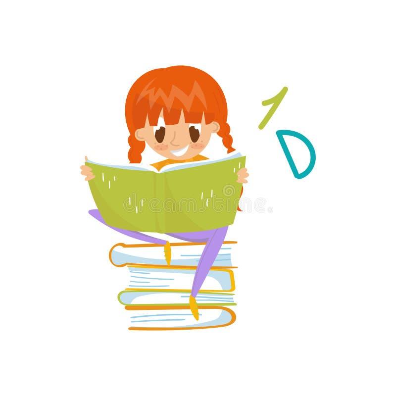 Niña del pelirrojo que se sienta en una pila de libros y de concepto de la lectura, de la educación y del conocimiento, personaje stock de ilustración